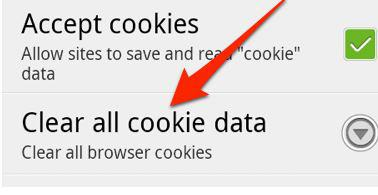 start to clean all cookies on Android