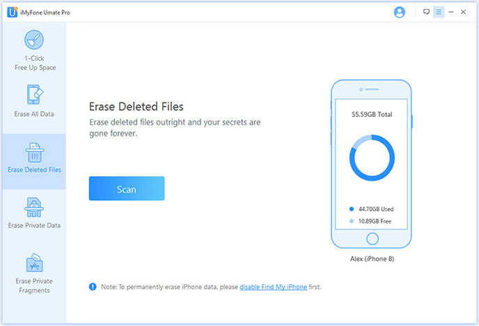 Erase deleted files fro iOS